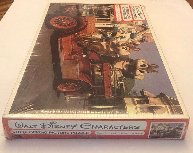 Walt Disney Characters Interlocking Picture Puzzle Fire Engine Fun Featuring Donald Duck and Chip and Dale By Jaymar New In Sealed Plastic