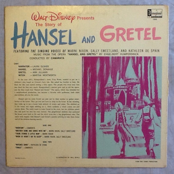 Walt Disney Presents The Story Of Hansel And Gretel 1964 Etsy