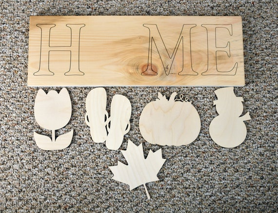 Interchangeable Home Sign Kit, Unfinished wood Cutouts, Wood shapes cutout   Laser Cutouts  Home Sign blank  Ready to paint kit  Door Hanger