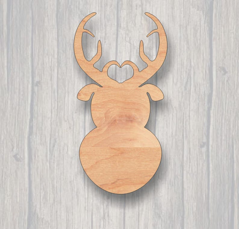 Ready to paint Wood Sign Laser Cutout FREE SHIPPING Sign blank Reindeer Door Hanger. Wood cutout Unfinished wood cutout