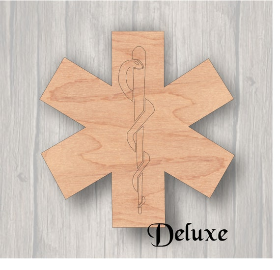 Star of Life  Unfinished wood cutout  Wood cutout  Laser Cutout  Wood Sign   Sign blank  Ready to paint  Door Hanger  EMS