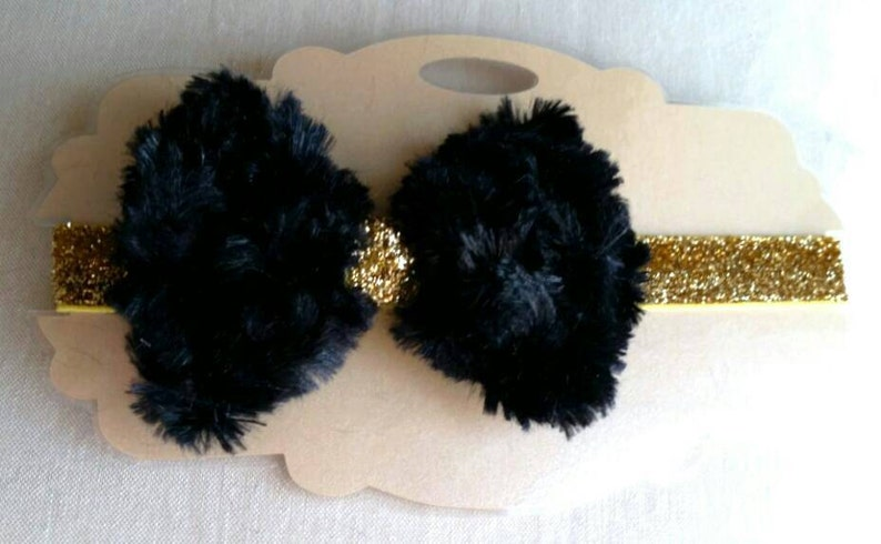 Black and Gold Faux Fur Bow Sparkle Headband