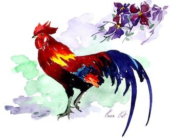ORIGINAL Watercolor Painting Rooster Art Chicken by Tara Tet