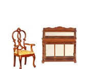 1 12 Scale Miniature Exclusively Curated Walnut Ladies Writing Desk Chair
