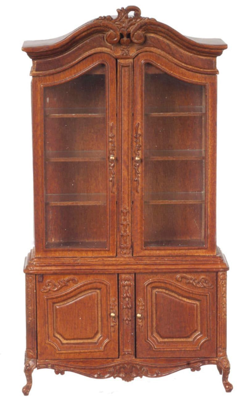1:12 Scale JBM Miniature Louis XV Walnut Display Cabinet