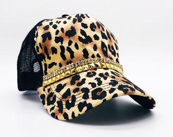 ffc747ce30108 Women s Black And Brown Leopard Trucker Hat. Gold Hat. Bling Hat. Rhinestone  Cap. Ladies Trucker Hat. Ladies Baseball Cap.