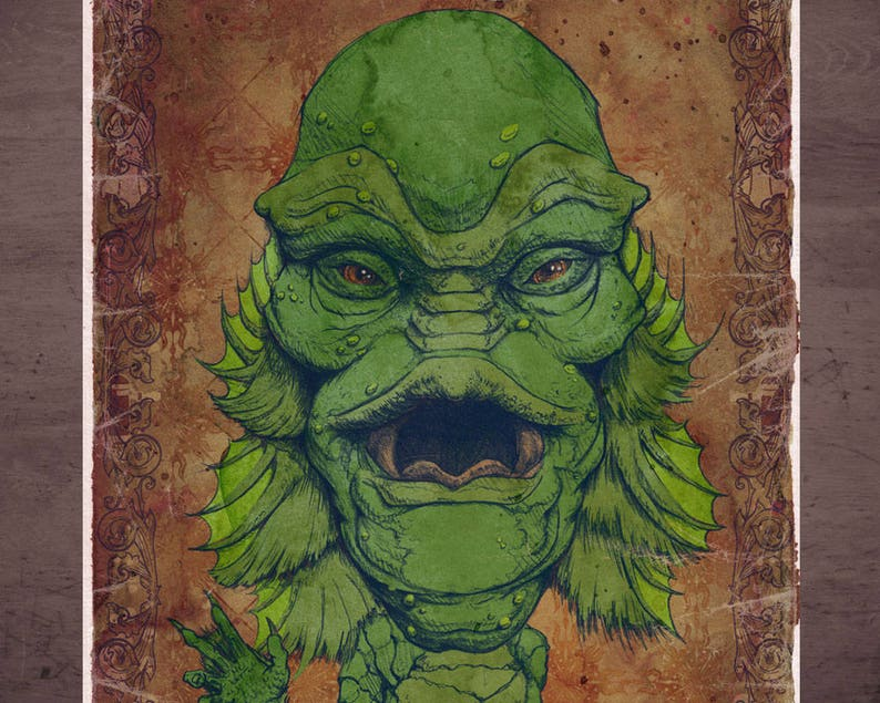 Creature from the Black Lagoon Universal Monster MINI Art Print by award  winning artist Brady Stoehr