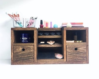 Vanity Makeup Organizer - Makeup Vanity - Makeup Storage - Makeup Organizer - Makeup Case - Vanity Trays - Gifts for Her  - Makeup Trays