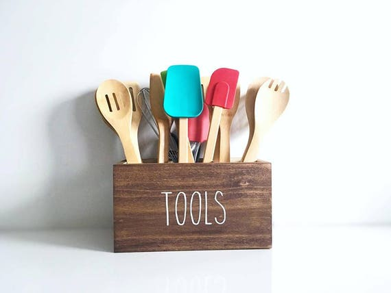Kitchen Utensil Holder | Kitchen Tool Caddy | Gift for Cook Host Chef Mom  Her Him | Kitchen Spatula Spoons Holder | Rustic Kitchen Decor