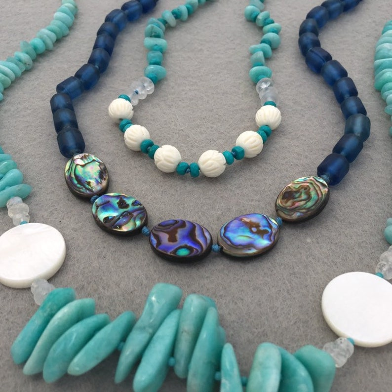 Peruvian Gem Amazonite Necklace with Sterling Silver Details