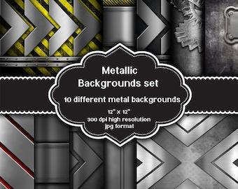 INSTANT DOWNLOAD - Collection of 10 digital metal design backgrounds