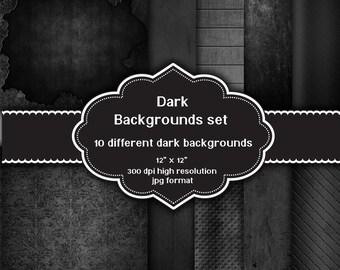 INSTANT DOWNLOAD - Collection of 10 digital dark grunge backgrounds
