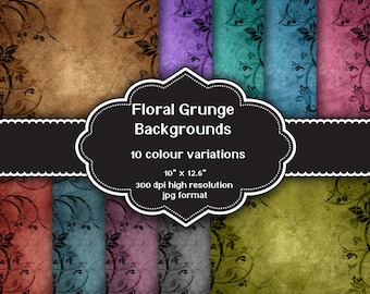 INSTANT DOWNLOAD - Collection of digital floral grunge backgrounds with 10 colour variations