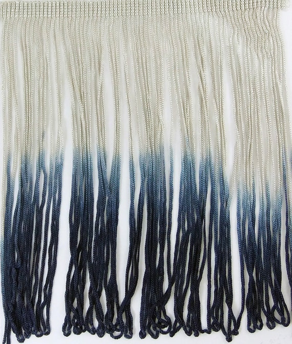 2 colour dark blue and minty green From UK FRINGE TASSLE 2 metres
