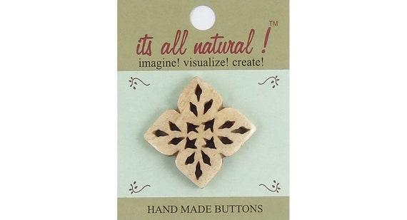 Antique Ivory 26mm Handmade Natural Bone Buttons Sun /& Stars Netting