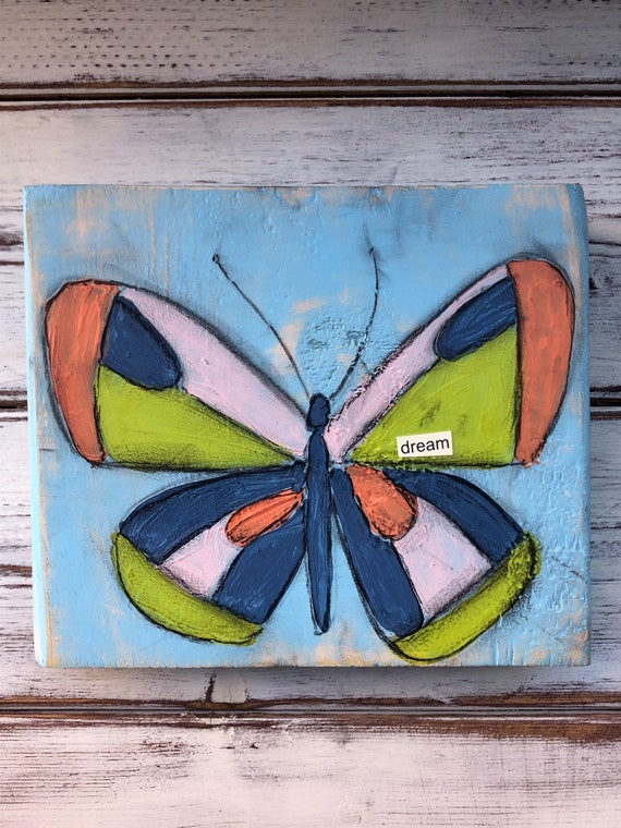 Whimsical Mixed Media Butterfly Art Block On Wood Etsy