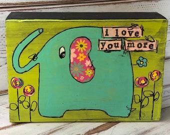 Whimsical mixed media elephant art block on wood