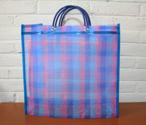 Market bag Plastic Mesh Beach bag Large Pink and blue   Etsy cf955a12be