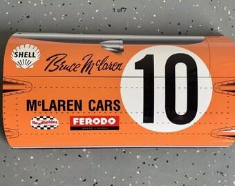 Racing legend Bruce Mclaren gulf  f1 inspired large  garage wall art sign
