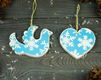 Wooden ornament set of 2 Xmas tree ornaments Wooden ornament Christmas art Christmas ornaments Holiday decoration Christmas decoration