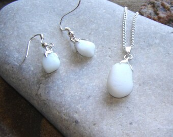 Milk Glass Sea Glass Jewellery Set, White Sea Glass Necklace and Earrings, English Seaglass Jewellery, Matching Jewelry Set, British Gifts