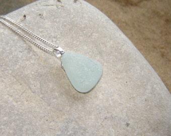 White Northumbrian Sea Glass Necklace, Genuine English Sea Glass Pendant, Seaglass Jewelry, Birthday present, Handmade Birthday Present, UK