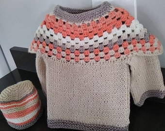 Baby Tennis Sweater-Vintage style-Size 12 months-White cable pattern with burgundy and navy trim-Handmade with LOVE!