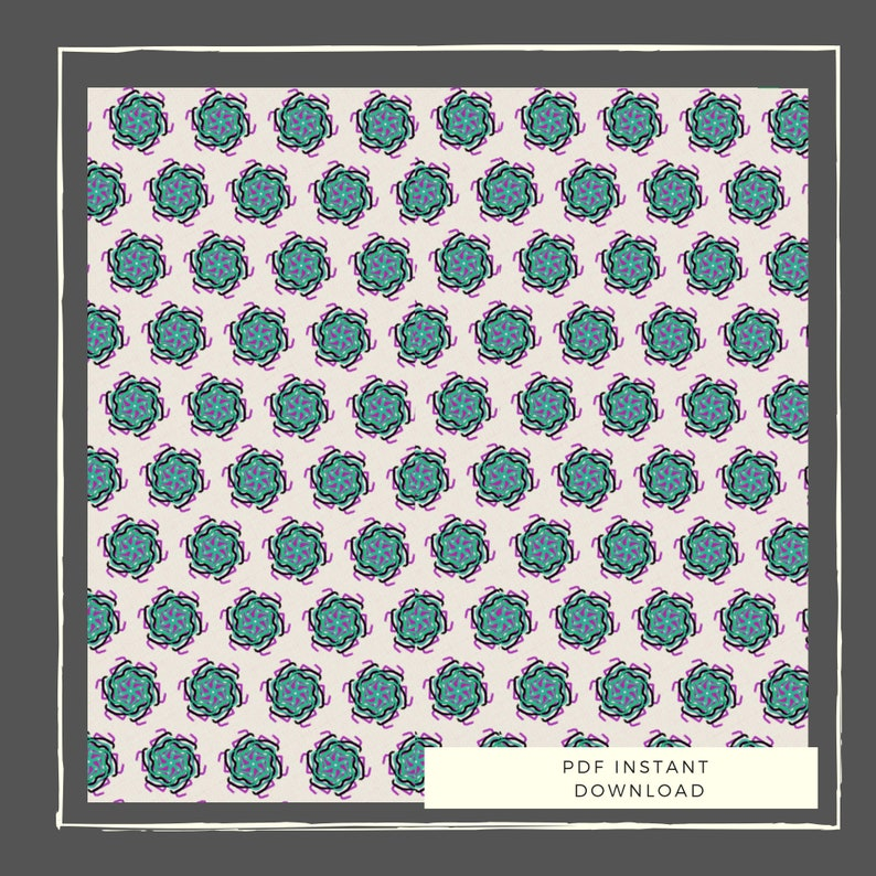 Paper Bead Template for bead rolling - Instant Downloads PDF - Cream Teal  Pink Flower Bicone Beads