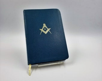 90f1a32ed2 Masonic Holy Bible Temple Illustrated Edition Vintage Mason Holy Bible Soft  Cover Blue Leather Freemason Bible AJ Hollman King Solomon s