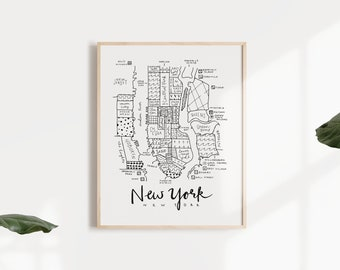 Wangle NEW YORK Manhattan Map including Gift Wrapping Gift for You Travel study move favorite City decoupage art