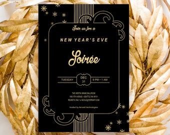 new years eve invitation editable template instant download party soire luxury happy 2019 celebration elegant corporate stationery templett