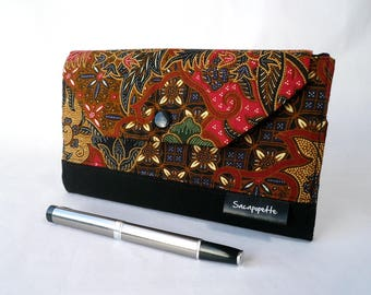 Woman's wallet, red and black purse, card holder, bag accessory