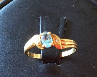 14kt Yellow Gold Blue Topaz and Diamond Ring
