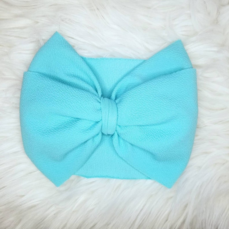 Swimming Pool Blue Headwrap- Baby Headwrap Big Baby Bow Bow Headband Toddler Headwrap Blue Head Wrap Baby Headband Blue Stretch Wrap
