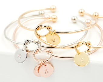 Personalized Knot Bracelets, Bracelet for Women, Custom Bangles, Monogram Bracelets for Bridesmaid, Initials Bracelet Custom Initials Bangle