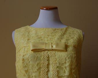 1960s Yellow A-Line Lace Dress