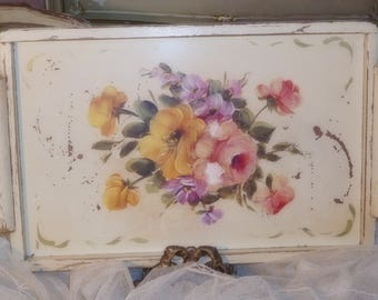Antique~1940's Shabby Toleware Hand Painted ROSES~CHIPPY~FRENCH Farmhouse Chic Wooden Serving Tray