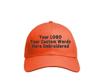 806d99ff2b1ff Custom Hat. Custom Logo Hat . Custom Text Hat .Curved Bill Hat. Adjustable  hook and loop fasteners Back. 6-Panel Structured Twill Cap