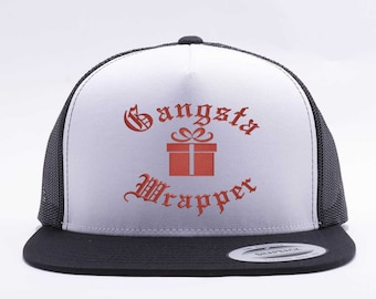 cf5581b42a0 Trucker Hat. Flatbill. Snap Back Hat. Adjustable Size. Funny Christmas Cap.  Gangsta Wrapper Hat. Embroidered.