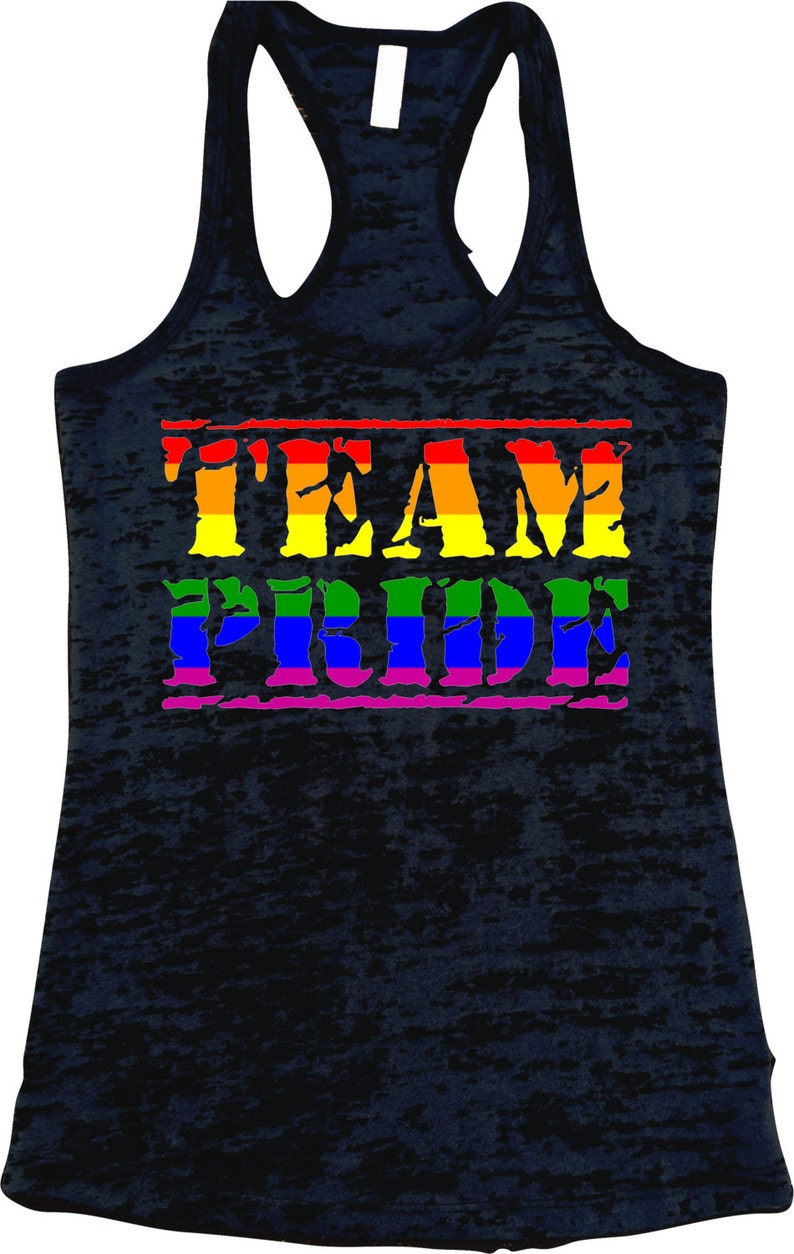 beb25c691105cc TEAM PRIDE Burnout Racerback Tank Top Rainbow LGBT