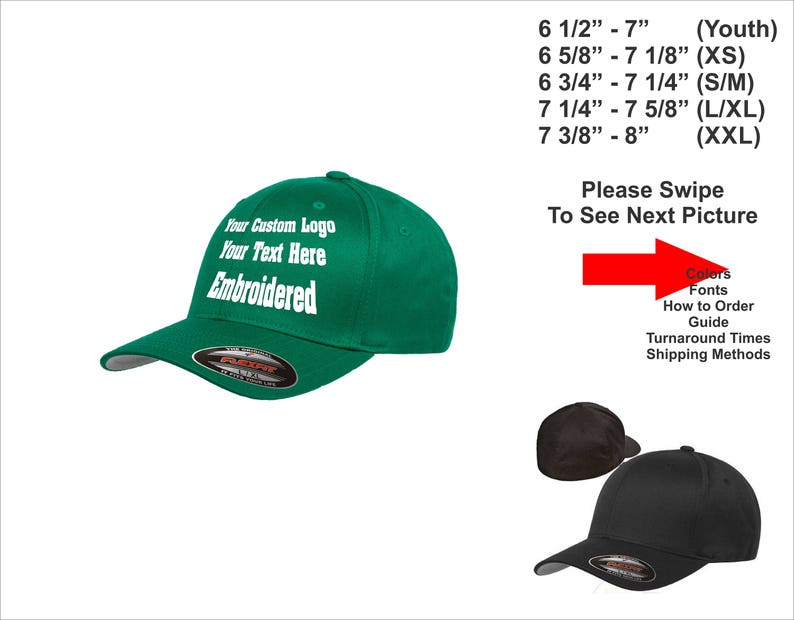 7d0a62902 Custom Hat. Custom Logo Hat . Custom Text Hat. Flexfit 6277 Curved Bill hat  . Customize your own hat. Youth Size hat. XXL Size hat