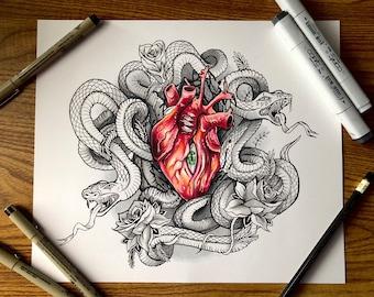 Two-Headed Heart - Original Artwork Print