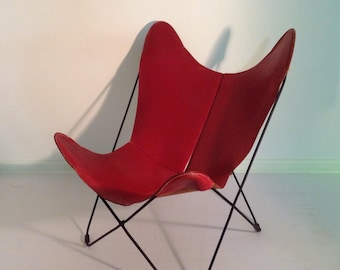 Merveilleux Vintage Original Jorge Ferrari Hardoy Butterfly Chair For Knoll In Red  Leather 50u0027s