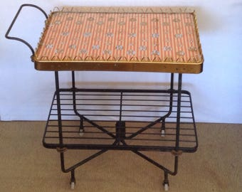 bec26c838dba 1950 s Wrought Iron Glass Top Serving Bar Cart on Wheels