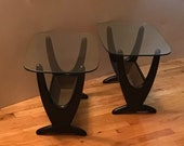 Mid Century Modern Adrian Pearsall Satin Black Accent Side Table Removable Brass Insert - A Pair