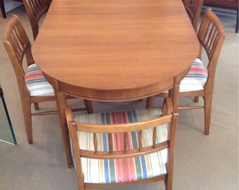 Mid Century Modern Signed Circa U002760 Henredon Fine Furniture Dining Table  W/6 Chairs