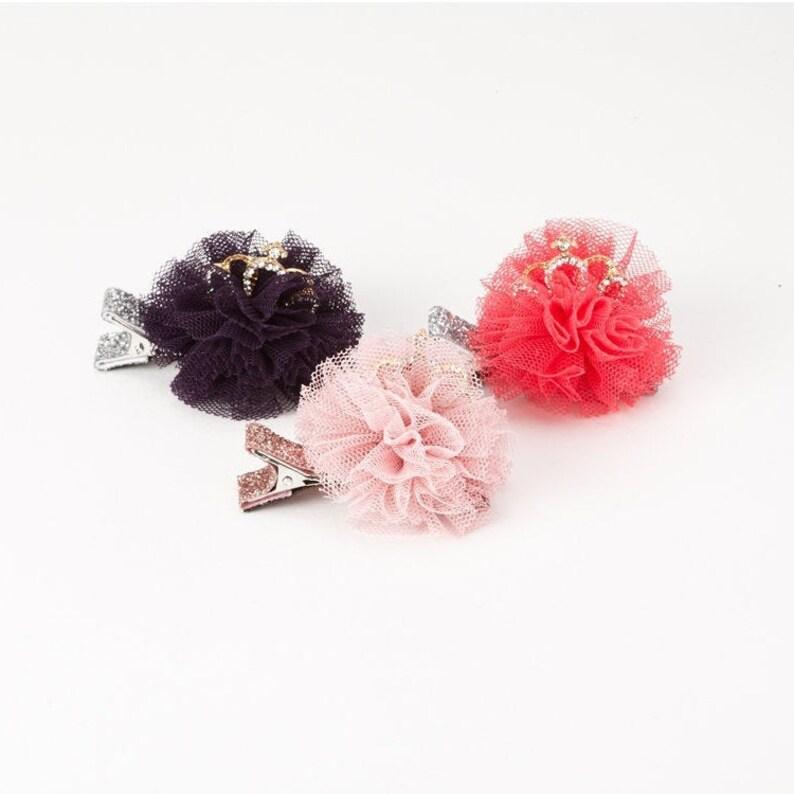 MINI Rhinestone Crown Tulle Blossom Hair Clip