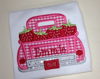 Embroidered strawberry truck theme shirt or bodysuit