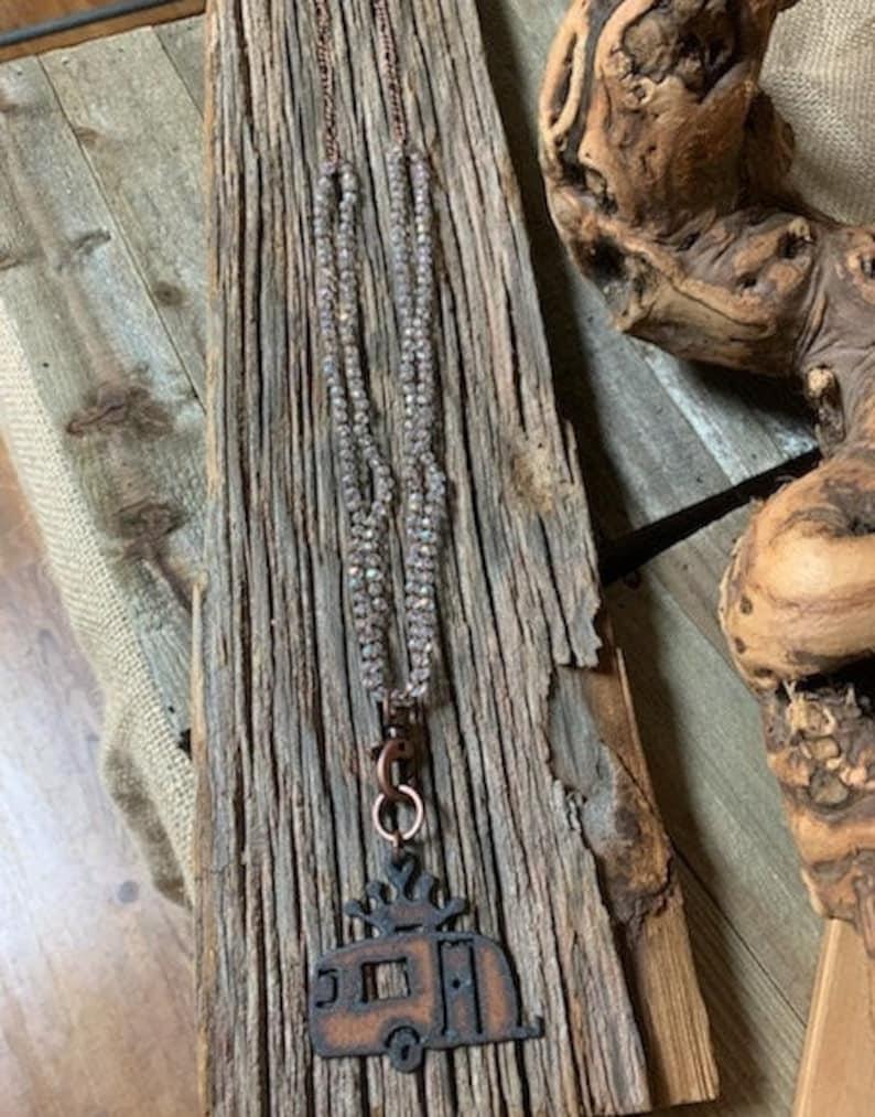 long boho camper necklace, rustic camper necklace