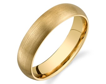 14k Yellow Gold Band (5mm) | CLASSIC DOME | Matte Brushed | Comfort Fit | Men's Women's Wedding Ring
